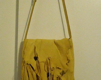 Golden-Yellow   Elk Leather cross  body  bag.women. handmade.iPad bag. Renaissance