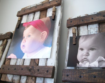 Picture holder/ frame set of three  Rustic / shabby chic wall hanging