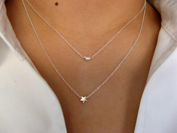 Ich gebe dir den Mond und die Sterne... Zierliche Sterling Silber Schichtung Halskette - strängige Halskette - minimalist
