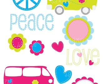 Hippie - 60s' - Peace - Love - Digital artwork Digital Scrapbooking