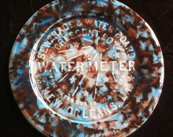 New Orleans Water Meter handmade mocha and blue Pottery Souvenir Plate
