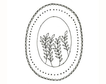 PDF Embroidery Pattern Leaves Vines Dots Scallops Digital Downloadable 0021