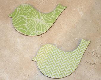 Kiwi green Bird magnets, Fridge magnets, Bird decor, Nature lover gift