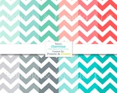"Basics: Chevrons, Mint Coral Grey and Teal, Digital Scrapbook Paper Pack, 12"" x 12"""