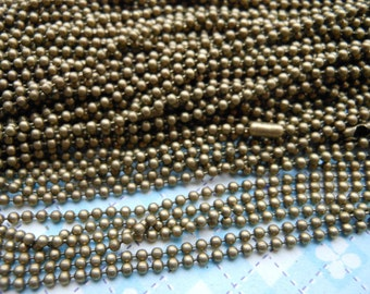 20 pcs 1.5mm 27inch Antique Bronze Ball Chain Necklaces
