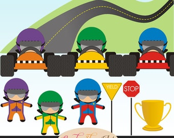 Boy Street Racers, Car Drivers, Race Car Driver Clipart, Street, Hill and Road, Trophy, Clip art - Commercial Use - Instant Download