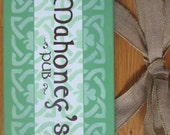 Personalized Irish Name Plaque in English or Gaelic with a wide burlap bow