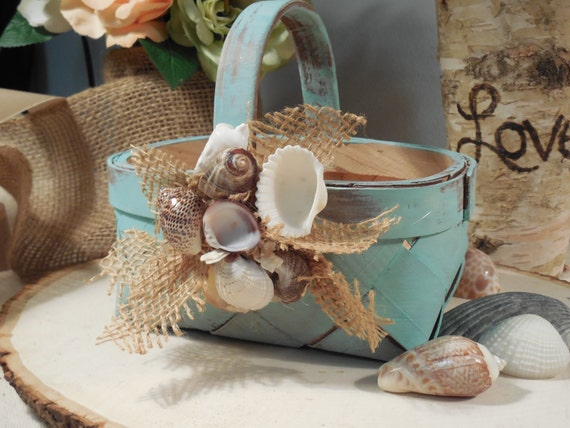 Rustic Flower Girl Basket for beach wedding