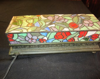 """REDUCED Vintage Multi-colored Rectangular Stained Glass Lamp 14"""" X 5.5"""" X 4.75"""""""