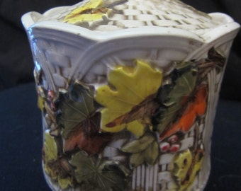 "Vintage Lefton 7277 Fall Colored Leaves Cannister size 7"" tall with lid 3"" diameter base"