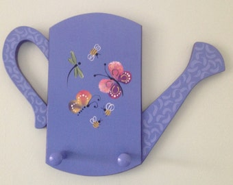 Handpainted  Watering Can Plaque With Pegs - Butterflies Dragonflies Bumblebees