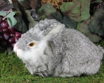 Gray Grey Rabbit Lying Easter Bunny Furry Animal Taxidermy Decor