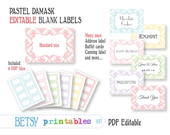 Editable labels or tags, damask digital labels or tags, pastel PDF labels or tags - INSTANT DOWNLOAD  037