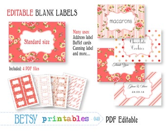 Editable labels, shabby chic digital labels or tags, printable labels - INSTANT DOWNLOAD  040