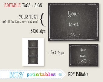Editable chalkboard sign and tags, printable digital sign - INSTANT DOWNLOAD  081