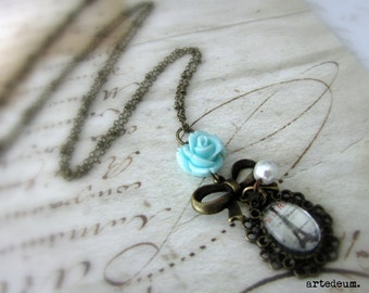 Paris Necklace with Blue rose and Eiffel tower vintage Antique bronze bow and chain - A Little Romance - Gift for her
