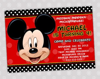 Mickey Mouse Birthday Invitation- Digital File