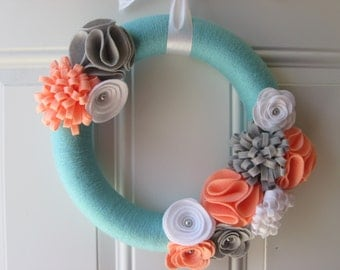 Modern Spring Wreath, Aqua, Coral, Grey and White Yarn Wreath,  Door Wreaths, Melon and aqua, Front Door Wreath