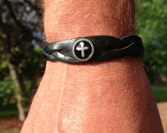 Braided bracelet with cross