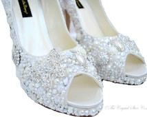 Swarovski crystal Cinderella Princess Peeptoe Vintage Lace bridal Ivory high heel shoe