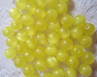 25  Bright Lemon Yellow Fiber Optic Cats Eye Luster Round Acrylic Resin Beads  6mm