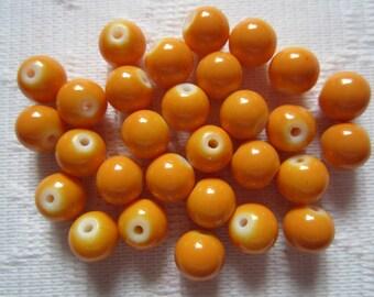 25  Tangarine Orange Opaque Round Glass Beads  8mm