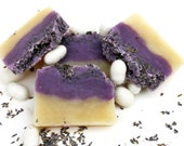 "Lavender silk soap ""Lavender Clouds""  with lavender fragrance oil. Hot process soap from scratch"