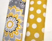 Baby Reversible Car Seat STRAP COVERS Cute Luggage Tag Seat Belt Cover Baby Gift Carseat Covers Infant Carrier Yellow Gray Polka Dots Girl