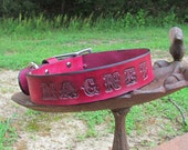 Custom leather dog collar with name and phone number made to order