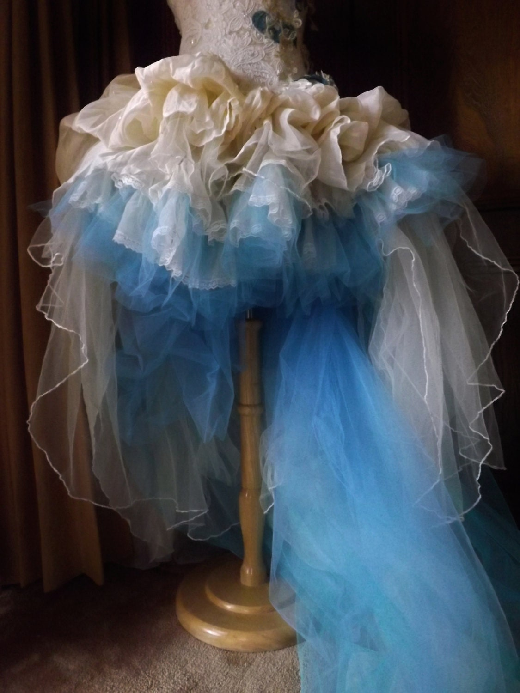 CUSTOM  Handmade Wedding Dress Mini Plus Tail Beige Blue Roses Embroidered Appliques