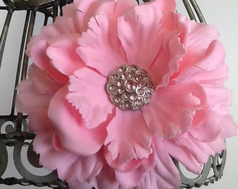 Hair clip: Large pink flower hair clip with rhinestone center. Girls hair clip, flower hair clip pink hair accessory