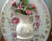 Mosaic wall hanging with Three Dimensional Vase And  shabby chic roses