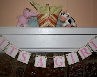 IT'S A GIRL Banner Baby Shower-Photo Prop