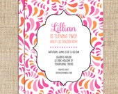 Pink and Orange Paisley Birthday Invitations- Digital File or Printed Invitations with FREE SHIPPING