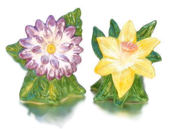 Fitz & Floyd Spring Flowers Salt and Pepper Shaker set, NIB, Spring Flowers Salt and Pepper Shaker set