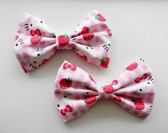 Hello Kitty Fabric Hair Bow Clip Barrette