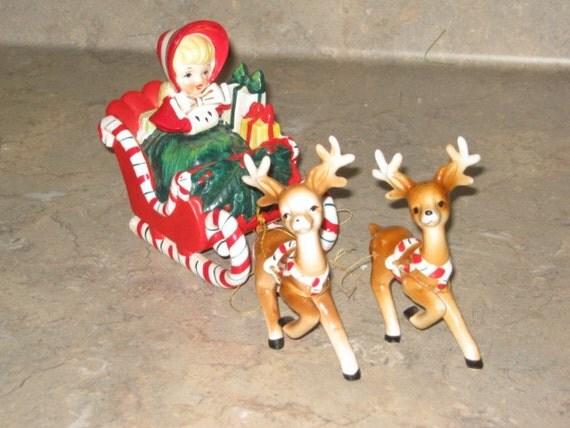 Vintage Lefton Christmas Shopper Girl In Santa Candy Cane