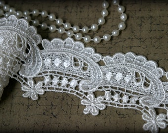 Ivory Venice Lace Embroidered Guipure Lace Trim LA-065