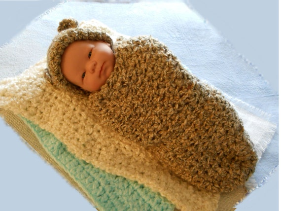 Crochet Cocoon Baby Hat Teddy Bear Ears Baby By Madewithluhv