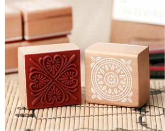 Korean wooden wood square decoden rubber Stamp Set stamp up stampin up- 6 Pcs in 6 different Decorative pattern