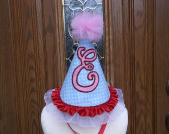 Girls First Birthday Party Hat - 1st Birthday Hat - Intial Birthday Hat  - Free Personalization