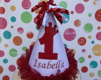 First Birthday Party Hat -Pretty White & Red Hat -  - Free Personalization