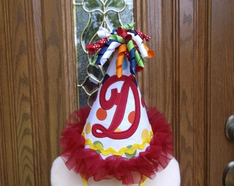 Girls Birthday Party Hat - 1st Birthday Hat - Intial Birthday Hat  - Free Personalization