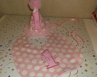 Girls  Birthday Hat And Bib Set - Darling Pink With White Polka Dots Hat And Bib Set