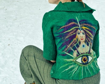 Hand made Merino wool jacket, felted jacket, esoteric jacket Wisdom Eye, woman's green custom design jacket
