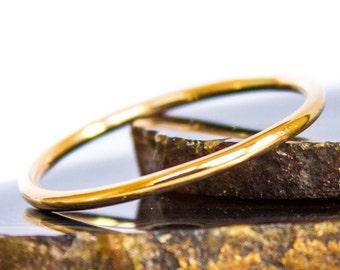 Gold Ring Solid 14k Gold Smooth Polished Stack Ring Sz 9 thru 12