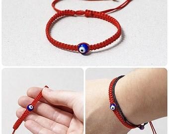 Red Kabbalah Bracelet Macrame bracelet Evil Eye Bracelet Kabbalah Jewelry Evil Eye Jewelry Tiny red string Bracelet