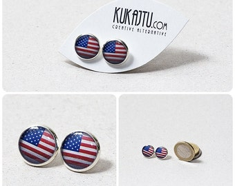 American flag Earrings America Custom Flag Jewelry National Flags Earrings USA Patriotic Earrings United States Custom flag earrings