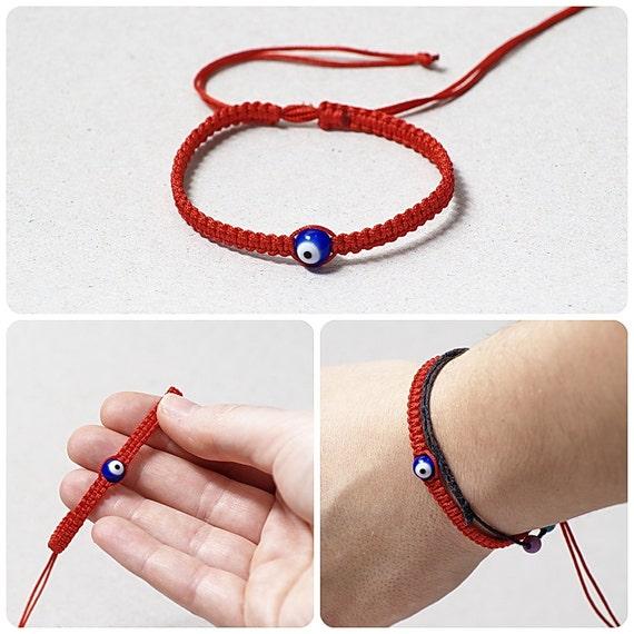 Bracelet rouge Kabbale Bracelet macramé Evil Eye Bracelet Kabbale bijoux mauvais œil bijoux rouge ficèle Bracelet