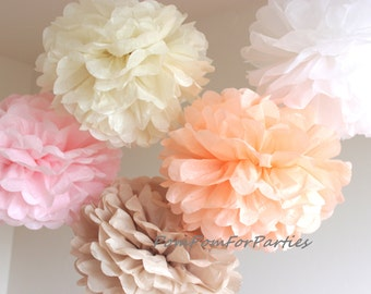 Set of 12 (7L/5M) Hanging Tissue Pom Poms - Wedding Centerpiece - Baby shower - Bridal - Birthday party - kids party decorations